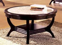wooden mahogany round marble top coffee table oak decorations simple books thick brown fur carpet extraordinary