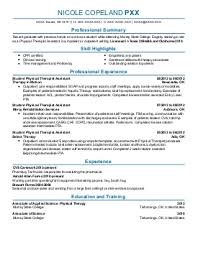 occupational and physical therapy resume examples in durant ok nicole copeland p occupational and physical therapy massage therapist resume template