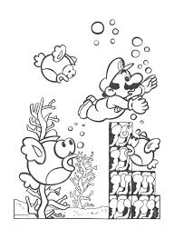 Super Mario Coloring Page Super Swimming Underwater Coloring Page