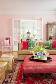 white sofa living room. Living Rooms:Contemporary Pink Room With White Sofa And Cushions Also Glass Coffee L