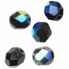 czech fire polished glass beads 6mm round jet black ab 25