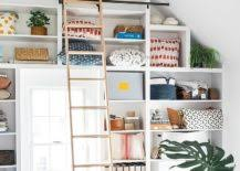 home office shelving ideas. View In Gallery Farmhouse Home Office With Ceiling Wooden Beams And Spacious Shelving [From: Anna Wilson Interiors] Ideas