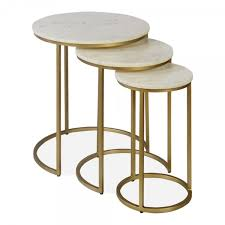 cult living madison nesting side tables white marble top brass