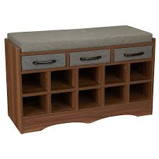 Entry benches shoe storage Enchanting Amazoncom Household Essentials Entryway Shoe Storage Bench With Cushion And Drawers Brown Home Kitchen Amazoncom Amazoncom Household Essentials Entryway Shoe Storage Bench With