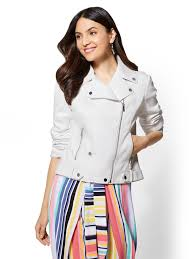 new york company white zip accent faux leather moto jacket lyst