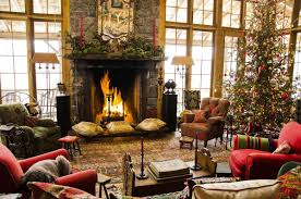 Of Living Rooms Decorated For Christmas Modern Christmas Living Room Granite Fireplace Surround Mantel