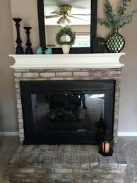 whitewash brick fireplace chalk paint stone diy