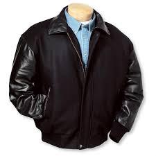 men s burk s bay wool and premium lamb baseball jacket black