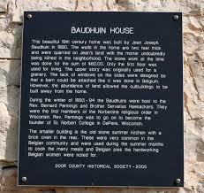 Summer Kitchen Door County Wisconsin Historical Markers Baudhuin House