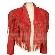 womens red motorcycle fringe leather jacket