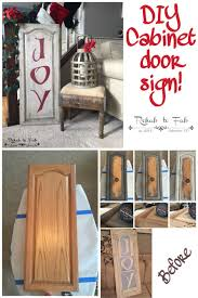 DIY Christmas Joy sign made from a old kitchen cabinet door. Done by Rehab  to