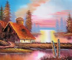 land sea nature oil painting 528 sunny nature scene cabin tr