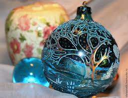 glass ball with stained glass painted blue forest