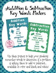 Addition And Subtraction Key Words Anchor Chart Addition And Subtraction Key Words Poster Anchor Chart