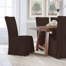 serta relaxed fit smooth suede dining chair slipcover brown