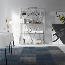 Glass Bookshelf Porto Lujo Cetus Modern Stainless Steel And Glass Bookcase