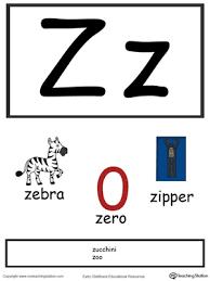 Alphabet Flashcards For Preschooler Letter Z Color