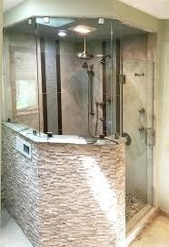 half wall shower glass custom swinging in out door area regarding block cost half wall shower glass