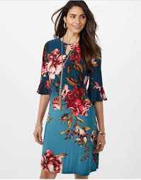 Roz Ali Ombre Floral A Line Dress Womens Fashion