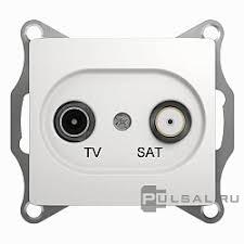 (<b>TV</b>), спутниковая (SAT), двойная, цвет - белый, <b>Schneider Electric</b>
