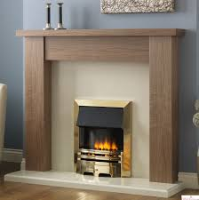 pureglow stanford walnut fireplace suite surround backpanel and hearth
