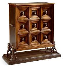 Theodore Alexander Walnut & Leather Panel Chest on Stand