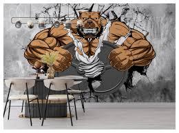 Gym Wall Mural Wallpaper Cartoon Strong ...