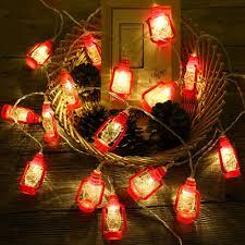 Mini White Light Strings 20 Led Red Lantern Mini Kerosene String Lights For Patio