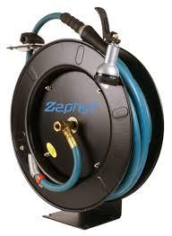 zephyr auto retractable garden hose reel with rubber water hose spray never