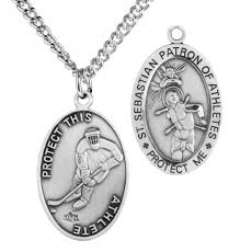 oval men s st sebastian ice hockey necklace with chain 24 rhodium plate endless