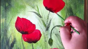 how to paint red poppy in acrylic on canvas panel step by step lesson