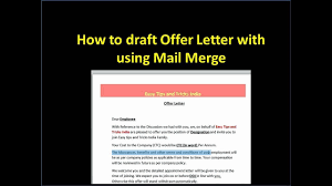 Create Offer Letter With Using Mail Merge Youtube
