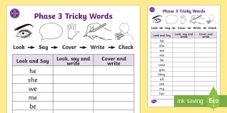 Air words | phase 3 phonics. Middle East Phase 3 Tricky Words On Writing Practice Activity Sheets