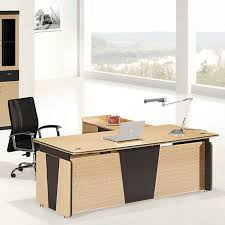 Cheap office furniture L shape modern design european style office desk  with cabinet More