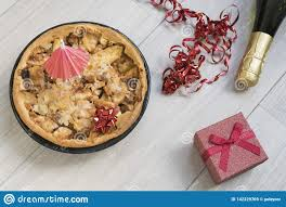 Homemade Apple Pie With Red Present And Alcohol Stock Image Image