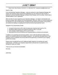 Special Resume Cover Letter Examples Operations Manager Best