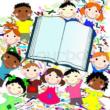 funny kids of diffe races with big book on a white background with letters stock photo colourbox
