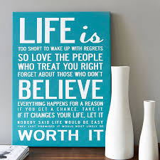 ... Blue Inspirational Canvas Wall Art Life Is Too Short To Wake Up With  Regrets So Love ...