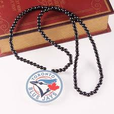 10pcs 2style fashion sport team wood beads charm wood necklace baseball toronto blue jays pendant necklace