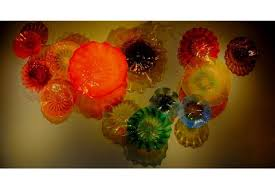 one of a kind blown glass chandeliers platters