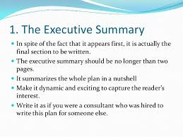 Writing Executive Summary Template How To Write An Executive Summary For A Business Plan Template