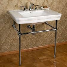 mason console sink with brass stand