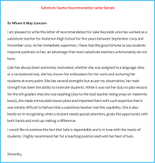 Letter To Substitute Teacher Template Letter Of Recommendation For Substitute Teacher On Template