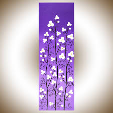 blossoms i by qiqigallery 8 x 24 nursery art abstract painting on canvas purple