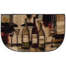 wine and glasses brown 18 in x 30 in slice kitchen rug