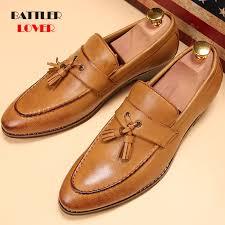 Luxury Brand Genuine <b>Leather</b> Pointed Toe Business Brogue <b>Shoes</b> ...