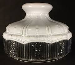 new 10 glass oil lamp shade satin white top clear crystal panel fits aladdin