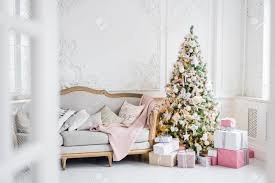 Light Pink And White Christmas Tree Classic Christmas Light Interior In White And Pink Tones With