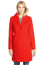 kristen blake single ted wool blend coat tomato red peacoats winter holidays women