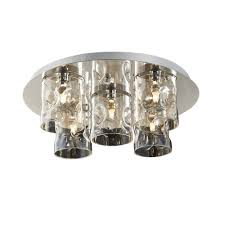 5 light flush ceiling light with champagne translucent glass shades